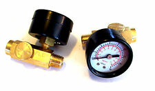 2 AIR PRESSURE REGULATORS WITH GAUGE 160 PSI MAX HOSE COMPRESSOR INLINE TOOL