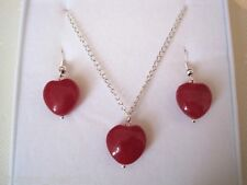 RED JADE GEMSTONE LOVE HEART SP Necklace Earrings BOXED GIFT SET Charm Valentine