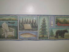 Rustic Outdoor Camping Themed Border with Fish & Bears by Brewster 93777FP