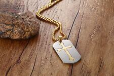 Christian Cross Jesus Charm Gold Plated Stainless Steel Pendant Necklace