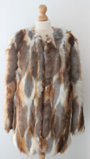 ASOS Faux Fur Coat Patchwork Shaggy Brown Jacket Vintage Style Winter Size 10