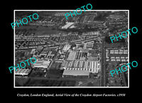 OLD POSTCARD SIZE PHOTO CROYDON LONDON ENGLAND AERIAL VIEW OF DISTRICT c1950