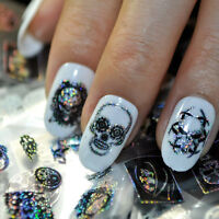 1Roll Gothic Halloween Skull Nail Art Sticker Water Decal Transfer TattooSticker