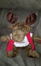 "Brown Canada Moose Plush 13"" Stuffed Animal in Maple leaf t-shirt zippered vest"