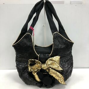 New Irregular Choice Bag Women's Black Gold Leather Patent Textured Bow 111047