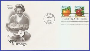 USA4 #3491-92 U/A ARTCRAFT FDC   Apple & Orange