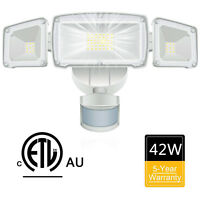 3-Head 42W LED PIR Motion Sensor Flood Light Outdoor Security adjustable Lamp