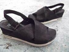 women's EILEEN FISHER black ankle strap wedge sandals Sz. 8.5