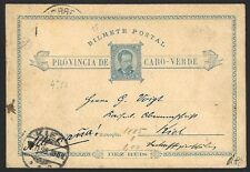 Capo Verde 10r postal card used 1895 to Germany