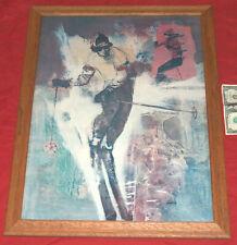 VTG 1975 Lou Louis Zansky RARE Downhill Slalom Skiing Art Print Poster D.A.C. NY