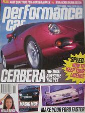 Performance Car 11/1995 featuring TVR Cerbera, Audi Quattro,  Aston Martin, MGF