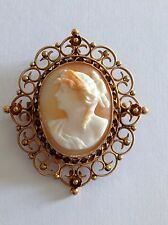 Attractive Antique 9ct Rose Gold & Carved Shell Cameo Brooch