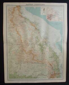 Antique Map: Eastern Queensland, Australia, John Bartholomew, Times Atlas, 1920