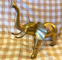 Vintage Large Brass Elephant Statue ~ Figure Figurine retro Lucky Trunk Up 15""