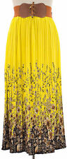 Belted Floral Pleated Lined Skirt YELLOW Womens Size L