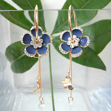 Navachi Butterfly Flower Zircon 18K GP Crystal Hoop Blue Enamel Earrings BH2903