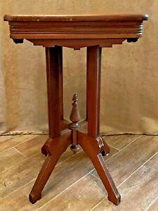 """29"""" Eastlake side table Victorian parlor end pedestal plant stand oak wood"""