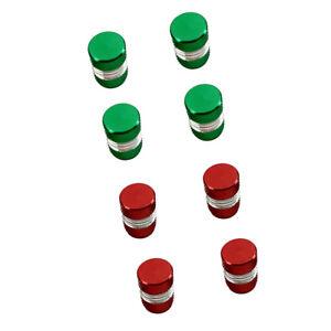 8PCS Universal Tire Wheel Air Stem Valve Caps Set for Car Truck Red+Green