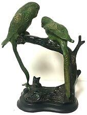 Vintage Castilian Brass Bronze Metal Green Parrot Bird Sculpture