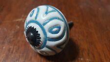 Hand-made Hand-painted Ceramic Drawer Knob - White w blue flower - S3