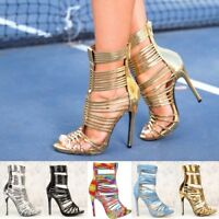 Caged Open Toe Strappy Stiletto High Exotic Heels Gladiator Sandals Booties H197