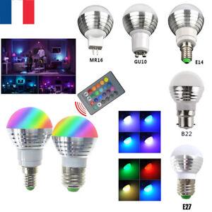 1-10Pcs LED E27/E26 E14 B22 GU10 MR16 RGB Ampoule Balle 3W Couleur Changeante