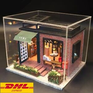 DIY Century Bookstore Dollhouse With Dust Cover Miniature Handicraft