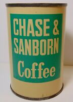 Rare TINY SAMPLE SIZE Antique Old Vintage 1940s CHASE & SANBORN COFFEE TIN LITHO