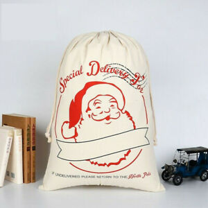 Large Cotton Christmas Santa Sack Special Delivery Xmas Stocking Storage Bag