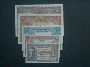 ***5 Rare Malaya 1940s 50,20,10,5,1 Cents 'GVF'/EF/UNC Banknotes**