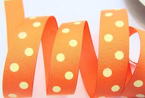 "5 yards Polka Dippy Dot Grosgrain 7/8"" Ribbon/Craft/Supply ORANGE/yellow R43-Z"
