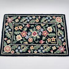 "Antique HAND HOOKED Rug FLORAL Flowers Black Multi Color 32"" X 22"""