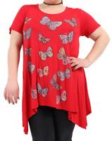 Womens Plus Size Short Sleeve Dip Hanky Hem Casual Butterfly Print Top T-Shirt..