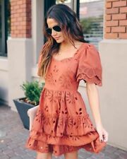 Lance Ruffle Tiered Eyelet Dress - Small - Just Me - 2020 Summer Fall Chic NEW