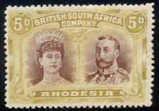 RHODESIA #107a, 5p olive yellow & brown – Color Error, og, hinged corner crease,