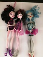 Monster High Doll Lot - 2 Draculaura - 1 Lagoona Blue - Clothed  - 2008