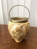 Beautiful Antique Pot With Silver Plated Handle  Lots Of Gold Flowers