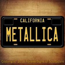 Metallica Heavy Metal Band California Aluminum Vanity License Plate Black