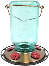 More Birds Mason Jar Hummingbird Feeder, Glass Bottle, 5 Feeding Ports and 25-Ou