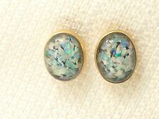 Estate 14K Yellow Gold Mosaic Opal & Onyx Stud Earrings 14kt vintage
