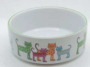 Whisker City Ceramic Cat Bowls Dishwasher Microwave Safe 10 Oz Polka Dot/Striped
