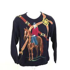 Vintage Pringle Golf Sweater Mens Size S Horse Riding Design Blue Long Sleeve
