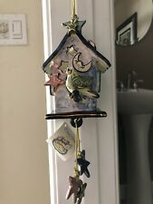 2002 Blue Sky Clayworks Heather Goldmine Birdhouse Tea Light Holder Euc