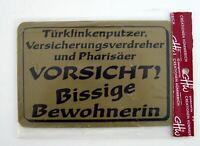 """Türschild Hinweisschild """" VORSICHT Bissige Bewohnerin! """" - Lustig - 15 x 10 cm"""