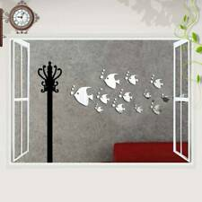 Set 13Pcs Miroir Stickers Mural Autocollant 3D Poisson DIY Décor Maison Chambre