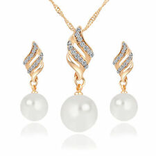 Pearl Crystal Necklace Earrings Set Girls Teens Fashion Wedding Bridal Party Fun