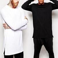 Men O Neck Long Sleeve Side Zipper Hip-Hop Street Long T-Shirt Tee Tops Tank Top