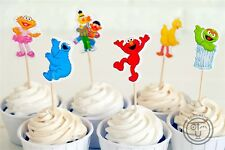 12 x Sesame Street Elmo Cake Picks Cupcake Toppers Flags Kids Birthday Party