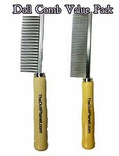 The Doll Planet Fine Wide Tooth Metal Styling Comb 2 Pack For Doll Hair & Wigs