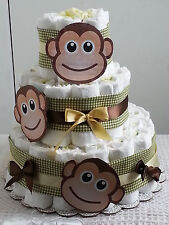 3 Tier Diaper Cake Monkey See Monkey Do Baby Shower Gift Centerpiece